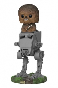 Star Wars POP! Deluxe Vinyl Figur Chewbacca with AT-ST 10 cm