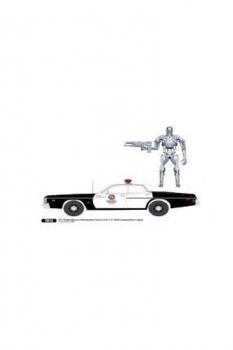 Terminator Diecast Modell 1/18 1977 Dodge Monaco Metropolitan Police mit Figur