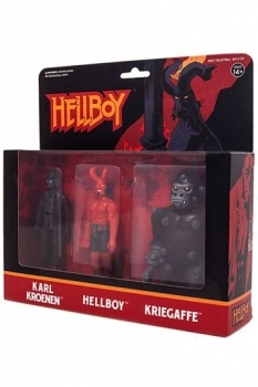Hellboy ReAction Actionfiguren 3er-Pack Pack A Hellboy w/horns, Karl Kroenen, Kriegaffe Ape 10 cm
