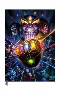 Marvel Kunstdruck Thanos & Infinity Gauntlet by Fabian Schlaga 61 x 46 cm - ungerahmt
